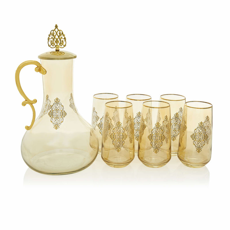 Gilded Golden Filigree Drink Serving Set with Lid