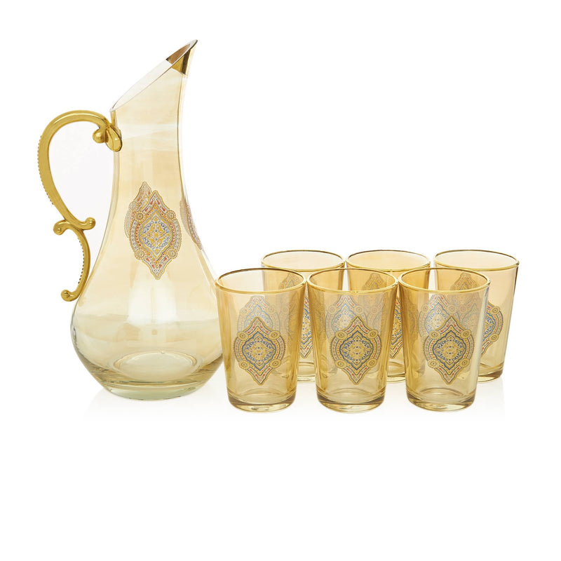 Gilded Red and Golden Filigree Drink Serving Set