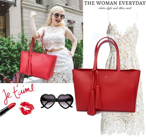 Valentine's Day Fashion Inspiration. Red Vegan Tote.