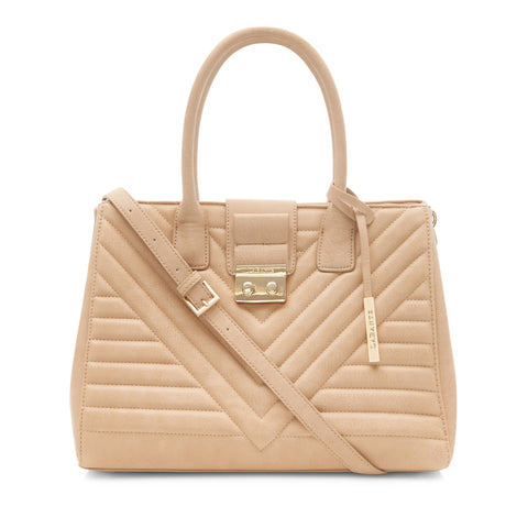 Luxury vegan bag by LaBante. Gwen Tote bag, ethically made and cruelty-free. Quilted exterior, beige color.