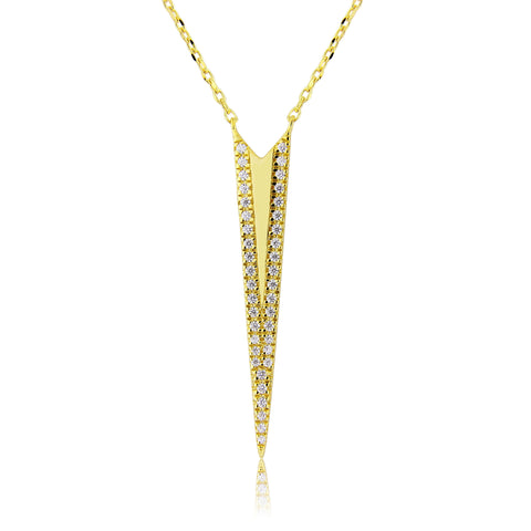 Gold arrow pendant necklace ethical jewellery