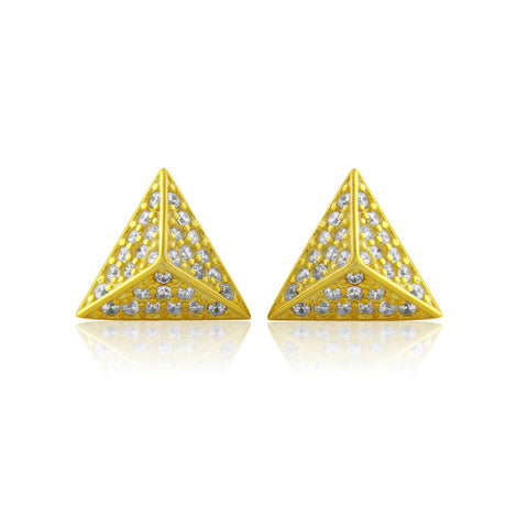 Pyramid stud earrings. Gold. Ethically made jewellery.