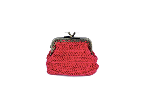 Red Crochet Mini Pouch Accessories The Woman Everyday - vegan and ethically made. The Woman Everyday