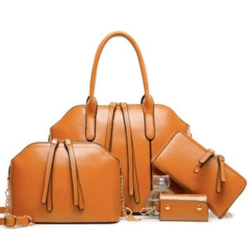 Luxury Vegan handbag set with wallet and keychain. Faux leather. Cruelty-free. Stylish design.