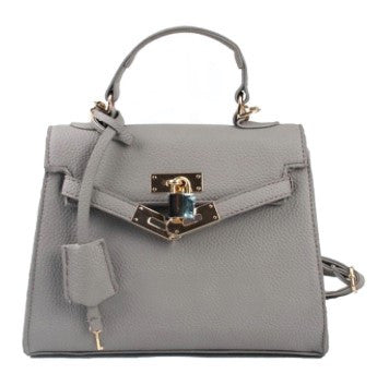 Grey handbag, stylish luxury design by Conspire Couture. Faux leather. Cruelty-free and vegan.