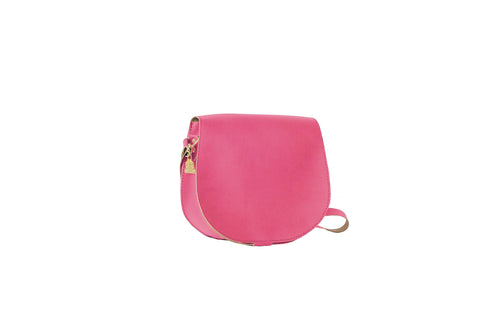Pink crossbody bag, cork leather, environmentally friendly material. Vegan, cruelty-free fashion.