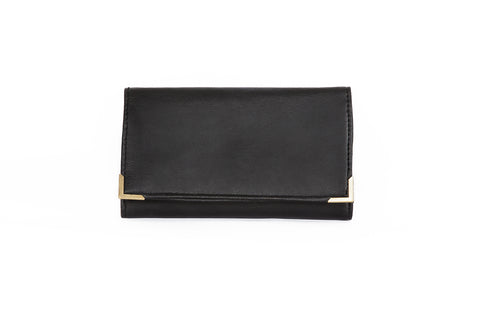 Black vegan wallet. Essentials. Cruelty-free and ethically made in Britain.