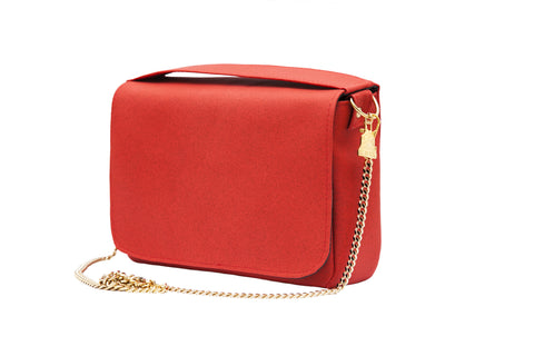 Cork leather crossbody bag, red. Vegan and ethically made.