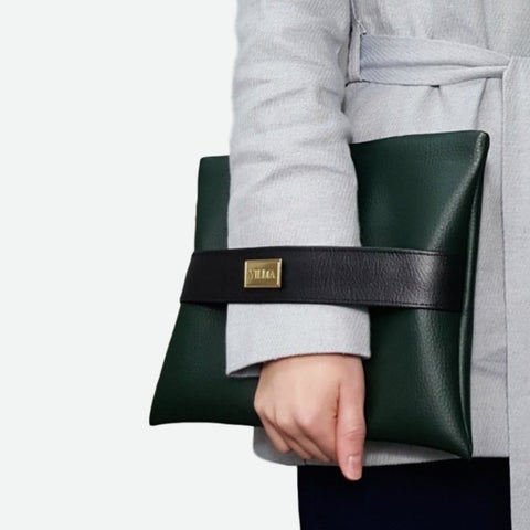 Vegan Clutch. Green Vegan bag, ethically made in Europe.