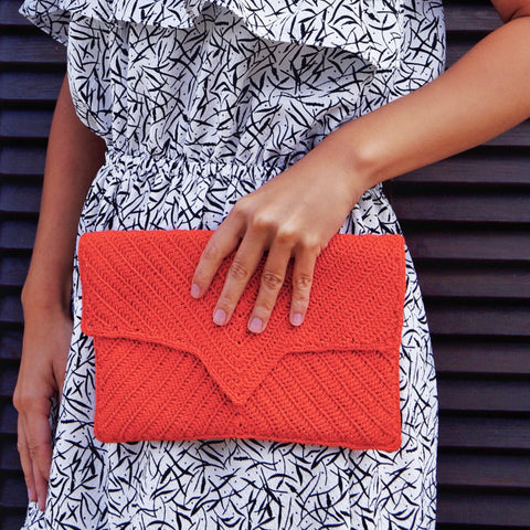 Esther Crochet Clutch - Bright Orange Bag The Woman Everyday - vegan and ethically made. The Woman Everyday