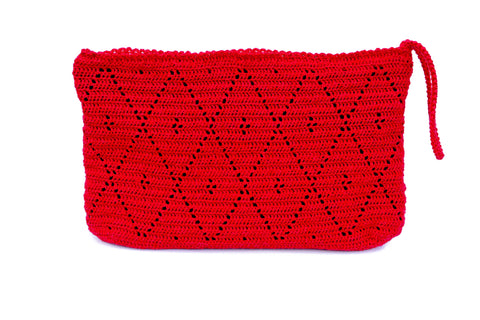 Melina Crochet Wristlet - Red Bag The Woman Everyday - vegan and ethically made. The Woman Everyday
