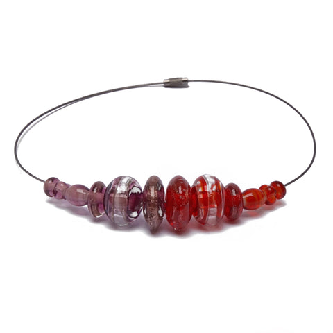 Ruby Gold Glass Bead Necklace  Bead Company- The Woman Everyday