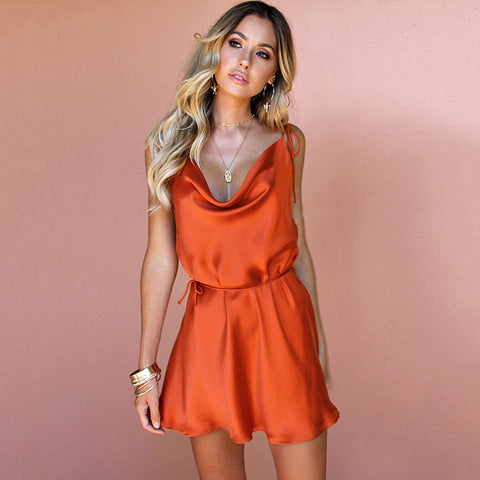 Draped satin dress in orange