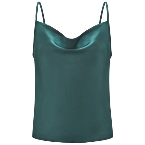 Draped satin camisole in green