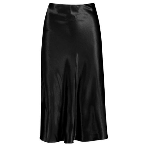 Satin skirt in black
