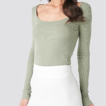 Ripped top with deep neck in green