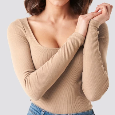 Ripped top with deep neck in beige