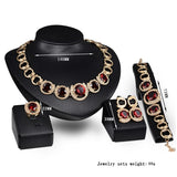 Gold Color Crystal Green Red Zircon Jewelry Sets