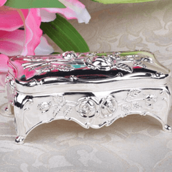 White Enamel Silver Color Jewelry Organizer