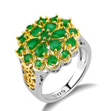 Flower Design  Silver 925 Gemstones Emerald Ring for Women
