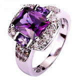 Fashion Design Purple & White CZ Silver Color Ring Size 6 7 8 9 10 11 12 13 Gift For His nd Her, Wife, Sister