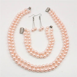 Charming Pink South Sea Shell Pearl Necklace Bracelet Earrings