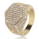 Gold Silver Color Hip Hop Fashion Men Rings With Cubic Zirconia