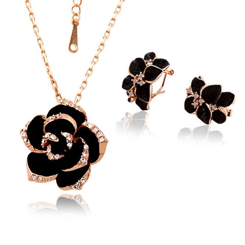 Rose Gold Color Black Painting Bridal Jewelry Sets for Women