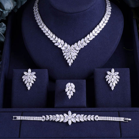 4pcs Bridal Zirconia Jewelry Sets For Women Party
