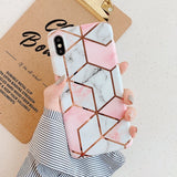 Geometric Marble Phone Cases For iPhone XR XS Max 6 6S 7 8 Plus X