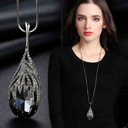 Long Chain Leaf Geometric Crystal Necklace for Women