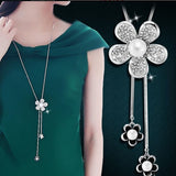Shiny Crystal Circle Silver Color Women's Pendant Necklaces