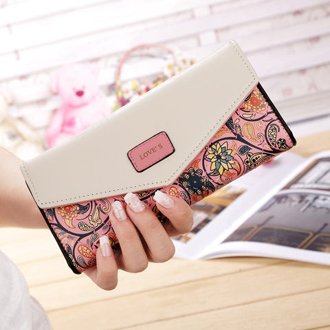 3 Fold Hit Color Flowers Printing PU Leather Wallet