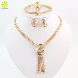 Gold Color Crystal Necklace Bangle Earring Ring set