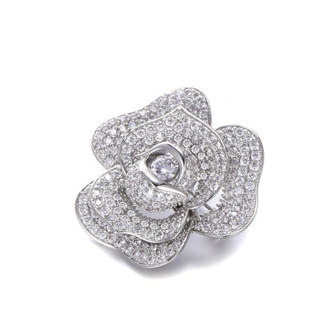 Luxury Rose Flower AAA Cubic Zirconia Brooch For Women