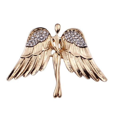 Birthday's Gift Elegant Angel Wings Metal Brooches Rhinestones Brooch Pin