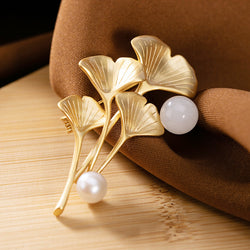 Real 925 Sterling Silver Gold-plated Ginkgo Leaf Jade Pearl Brooch Pendant