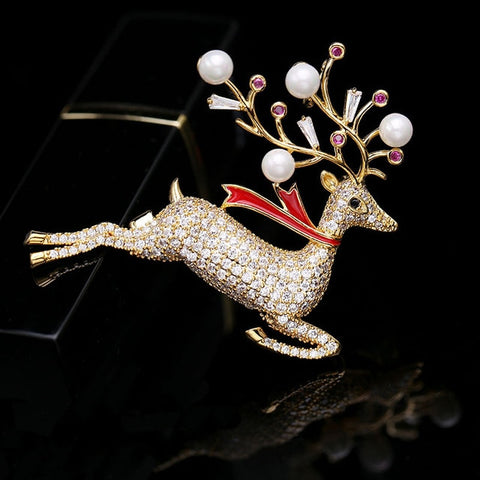 Lucky Deer Animal Brooches For Women