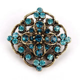 Antique Gold Color Plated Crystal Rhinestones Flower Pins and Brooches for Women