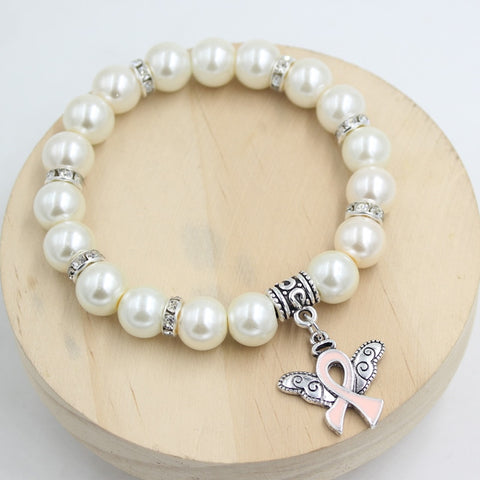 1PC Angel Wing Pink Ribbon White Pearl Bracelets for Women