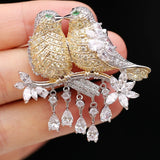 Cubic Zircon Two Birds Brooch