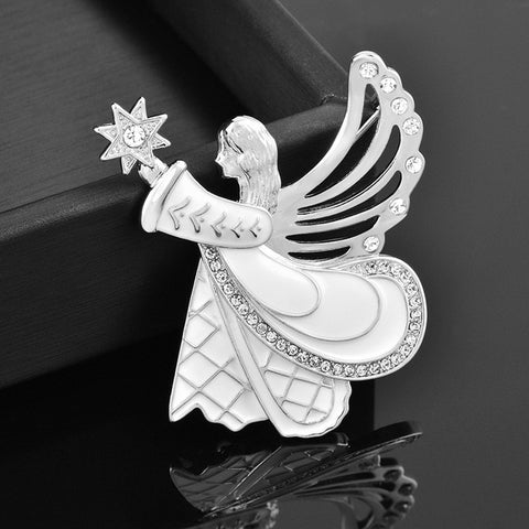 Unique White Enamel Angel Wing Girl Brooch Pins