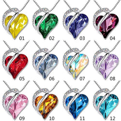 Infinity Love Heart Pendant Necklace Made With Crystals Birthstone Jewelry