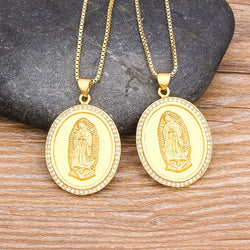 Top Quality 10 Styles Gold Virgin Mary Necklace For Women Men
