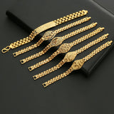 24K Gold Plated Multi Shape Punk Bracelet For Men Women