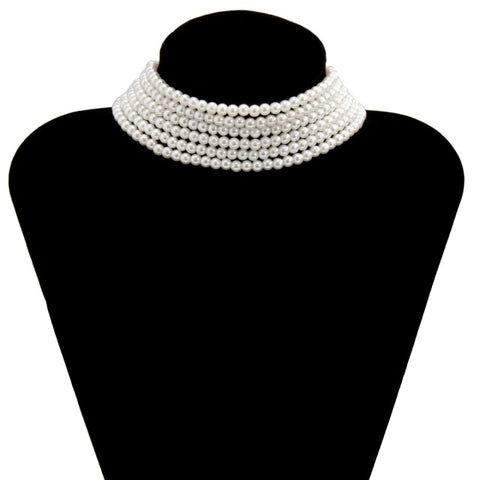 Multi Row Imitation Pearl Choker Necklace for Women