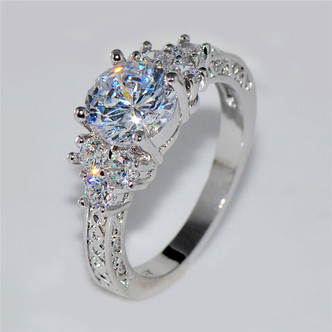 Stylish White Stone Women/Men Wedding Ring