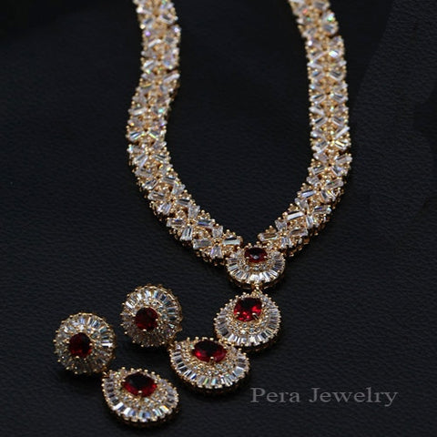 CZ Classic Cubic Zirconia Gold Color Jewelry Sets