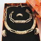 Gold Color Cz Crystal Necklace Earring Ring Bracelet Jewelries Set