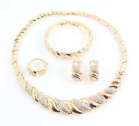 Gold Color Trendy Necklace Earrings Bracelet Jewelry Set